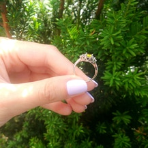 Fairytale Collection | Side-Stone Ring: rose gold, black diamond