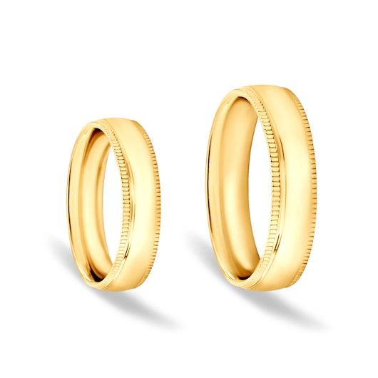 Svadobné obrúčky: zlaté, vypuklé, 5 mm