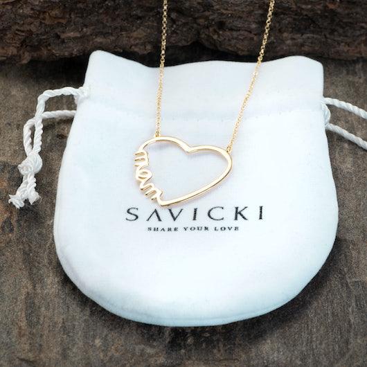 Náhrdelník s príveskom srdce SAVICKI: strieborný pozlatený