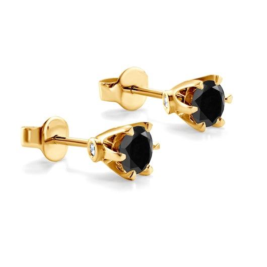 Náušnice The Journey: zlaté, čierne diamanty