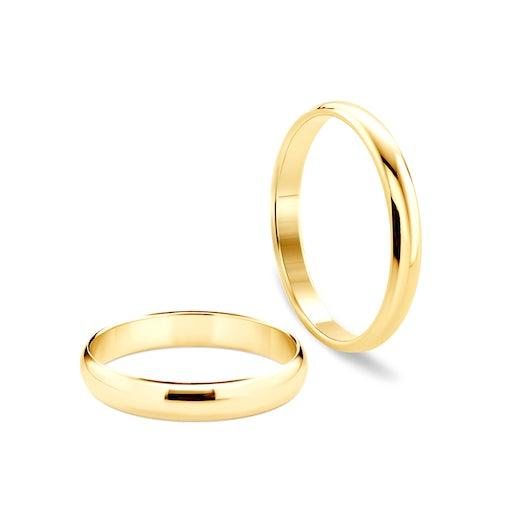 Svadobné obrúčky: zlaté, polguľaté, 5 mm