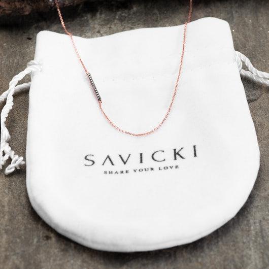 Naszyjnik Savicki: różowe złoto, czarne diamenty