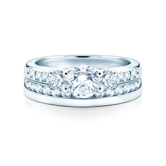Dream Collection | Wedding Rings: white gold, white sapphire, classic, 3 mm
