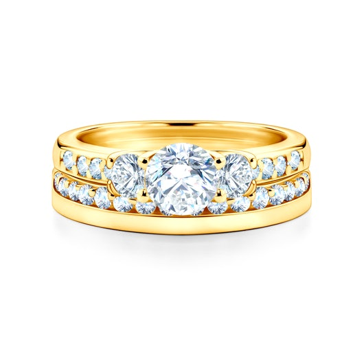 Snubní prsteny Dream: žluté zlato, bílý safír, ploché, 3 mm