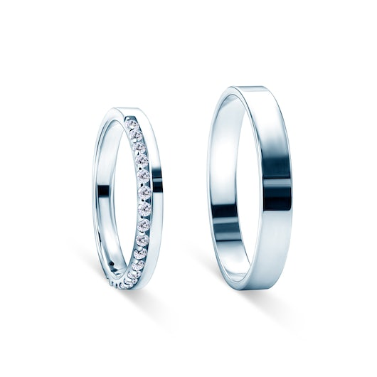 Dream Collection | Wedding Rings: white gold, diamonds, classic, 3 mm