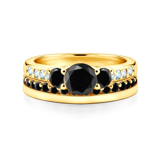 Dream Collection | Wedding Rings: gold, black diamonds, classic, 3 mm