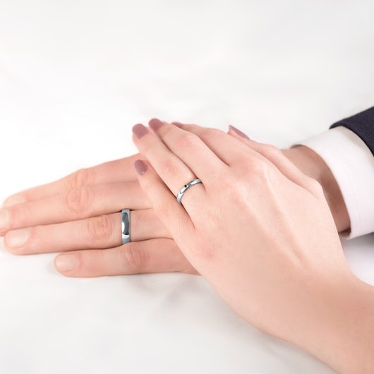Fairytale Collection   Wedding Rings: white gold, black diamond, D-Shaped, 3 mm and 4 mm