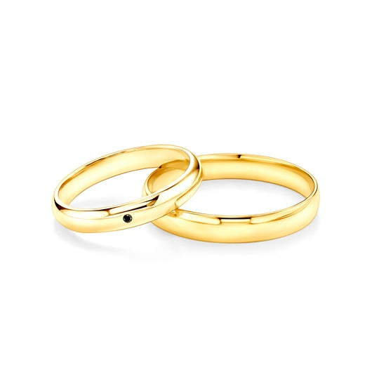 Fairytale Collection   Wedding Rings: gold, black diamond, D-Shaped, 3 mm and 4 mm