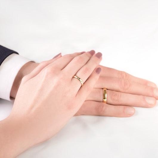 Obrączki Fairytale: złote, czarny diament, półokrągłe, 3 mm i 4 mm