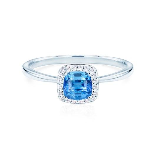 Pierścionek zaręczynowy Savicki: białe złoto, niebieski szafir, diamenty