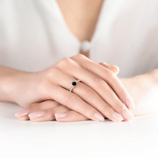 Dream Collection   Three-Stone Engagement Ring: gold, black diamond