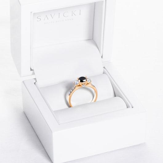 Pierścionek zaręczynowy Dream: złoty, czarny diament