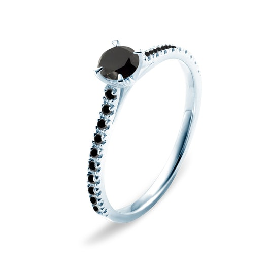 Share Your Love Collection | Side-Stone Engagement Ring: white gold, black diamond
