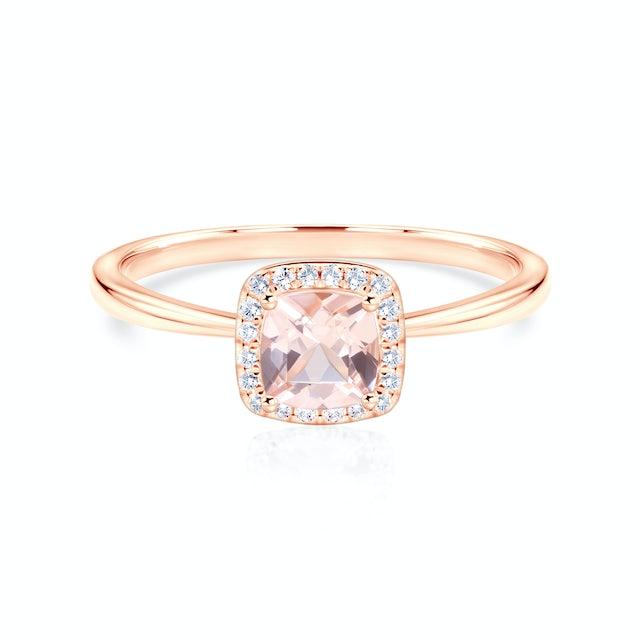 Pierścionek zaręczynowy Savicki: różowe złoto, morganit, diamenty