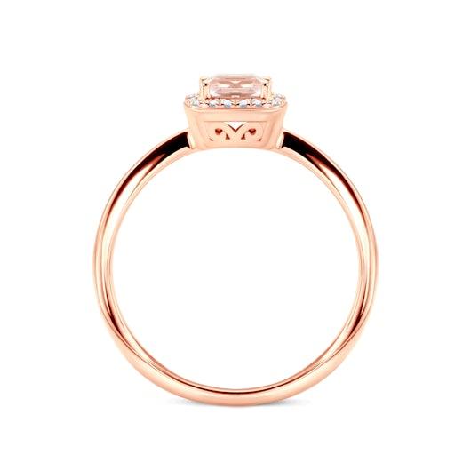 Zásnubní prsten Savicki: růžové zlato, morganit, diamanty