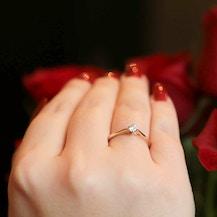Pierścionek zaręczynowy The Light: złoty, diament