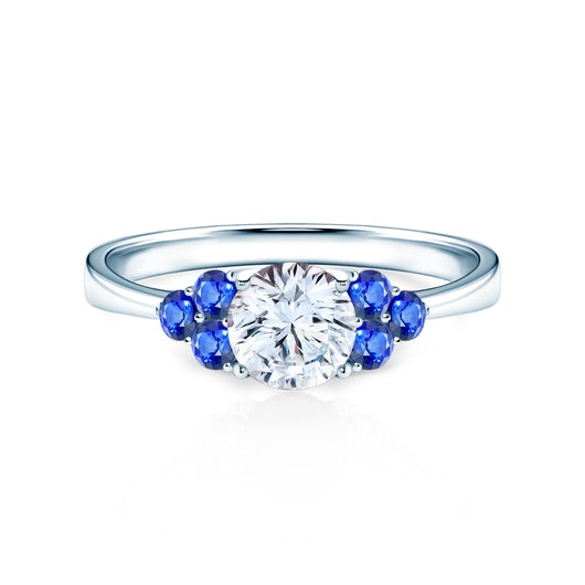 Fairytale Collection   Side-Stone Ring: white gold, white sapphire