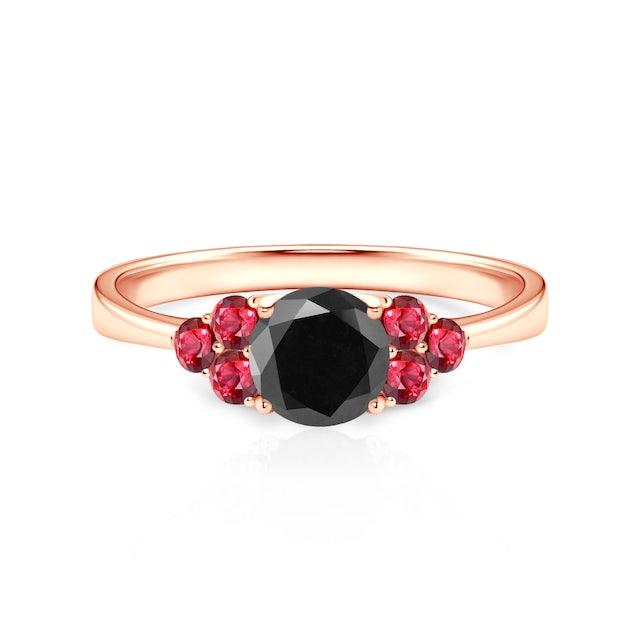 Pierścionek Fairytale: różowe złoto, czarny diament