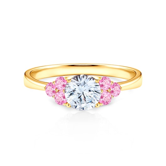 Fairytale Collection | Side-Stone Ring: gold, white sapphire