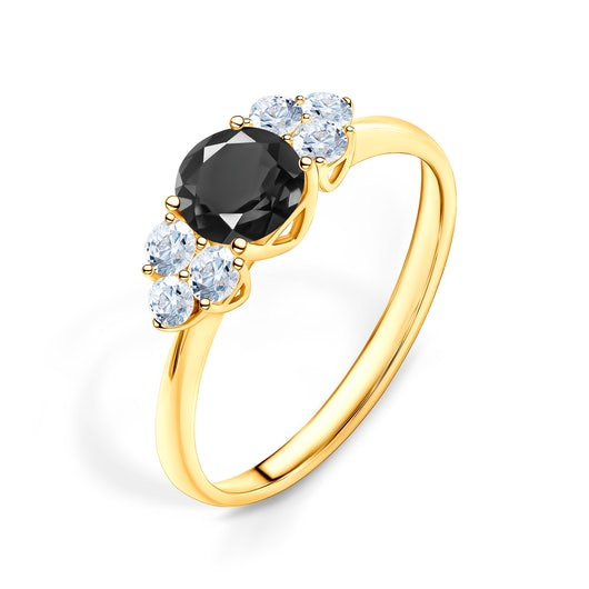 Fairytale Collection | Side-Stone Ring: gold, black diamond
