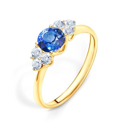 Pierścionek Fairytale: złoty, niebieski szafir