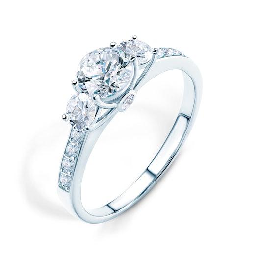Zásnubní prsten Dream: bílé zlato, bílý safír