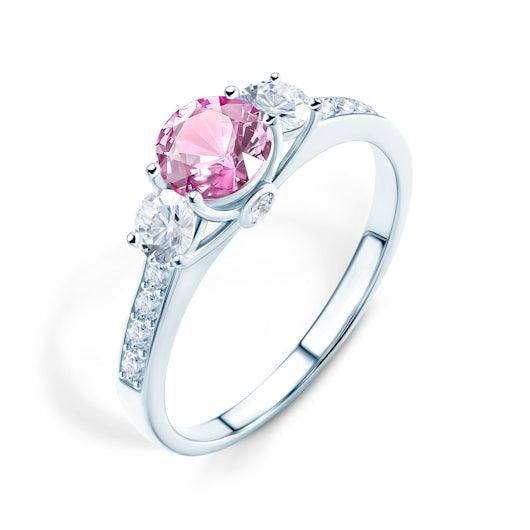 Pierścionek zaręczynowy Dream: białe złoto, różowy szafir