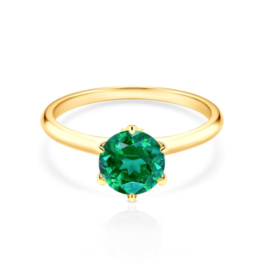 The Journey Collection | Solitaire Engagement Ring: gold, emerald