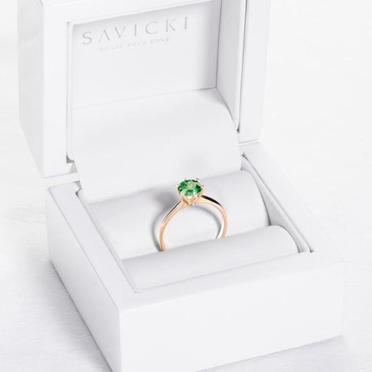 Zásnubní prsten The Journey: žluté zlato, smaragd