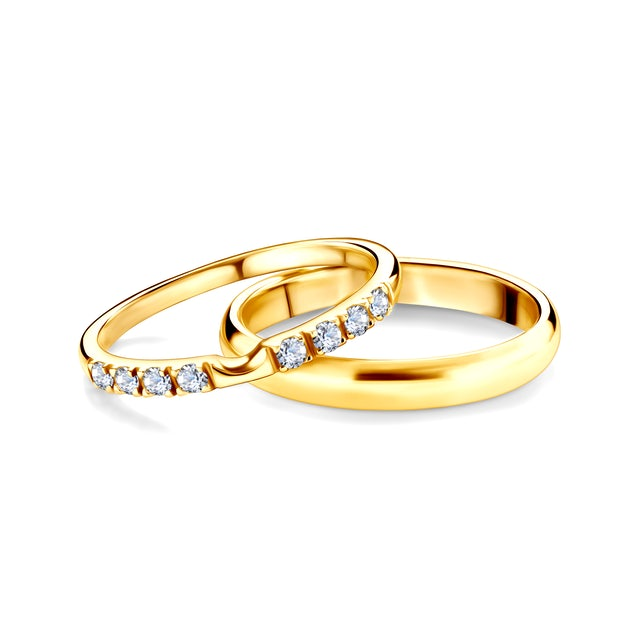 The Journey Collection | Wedding Rings: gold, white sapphire, D-Shaped, 2 mm and 3 mm