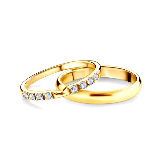 The Journey Collection   Wedding Rings: gold, white sapphire, D-Shaped, 2 mm and 3 mm