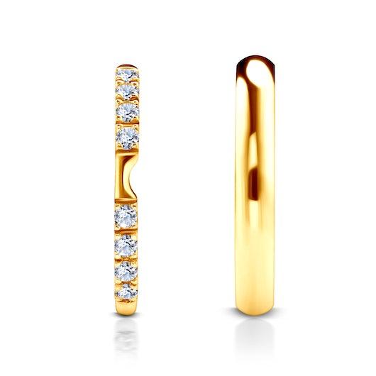 Obrączki The Journey: złote, biały szafir, półokrągłe, 2 mm i 3 mm