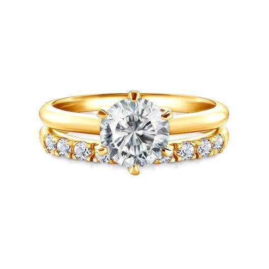 Snubní prsteny The Journey: žluté zlato, bílý safír, půlkulaté, 2 mm a 3 mm