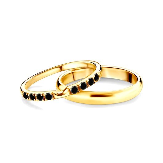 Obrączki The Journey: złote, czarny diament, półokrągłe, 2 mm i 3 mm