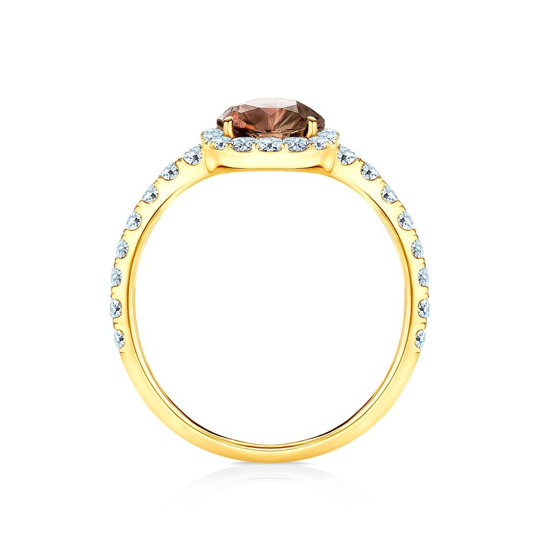 Pierścionek zaręczynowy This is Love: złoty, brązowy diament