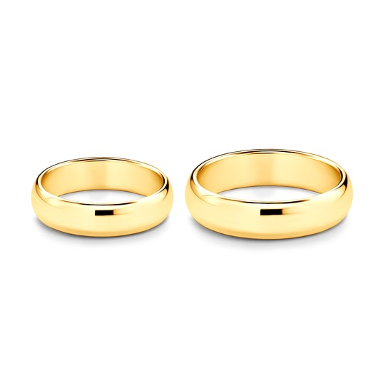 Wedding Rings: gold, D-Shaped, 5 mm