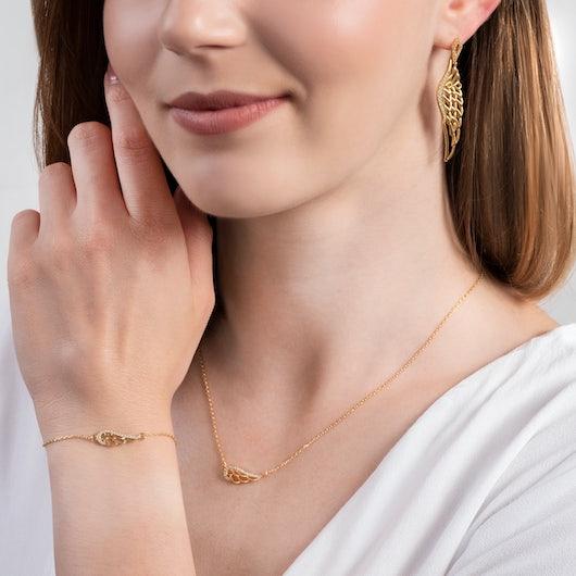 Komplet biżuterii skrzydła Savicki: srebro pozłacane, cyrkonie