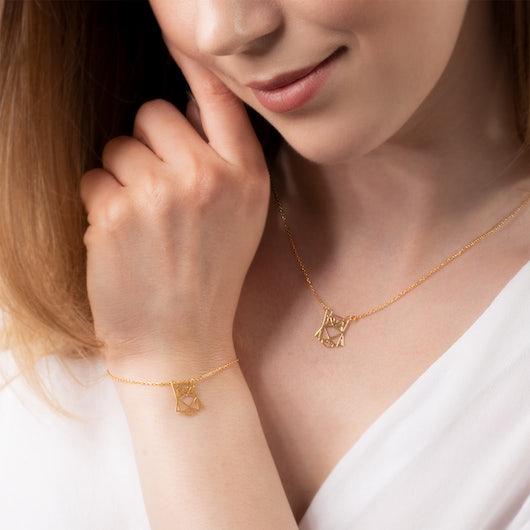 Komplet biżuterii sowa Animals: srebro pozłacane