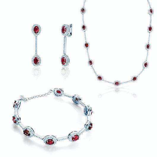 Komplet biżuterii Swan Lake: białe złoto, rubiny