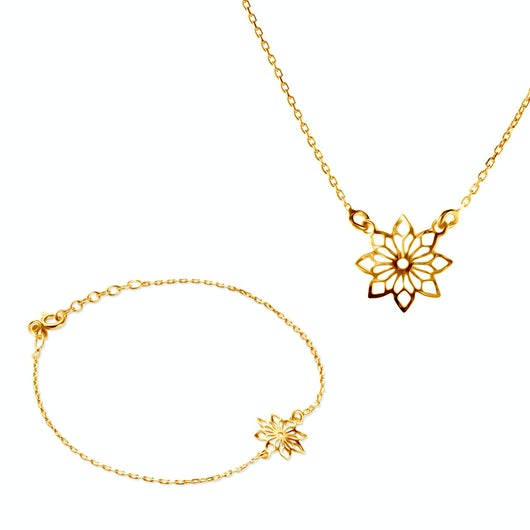 Komplet biżuterii kwiatki Savicki: srebro pozłacane