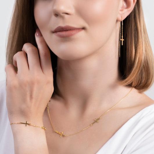 Komplet biżuterii z krzyżykiem Savicki: srebro pozłacane