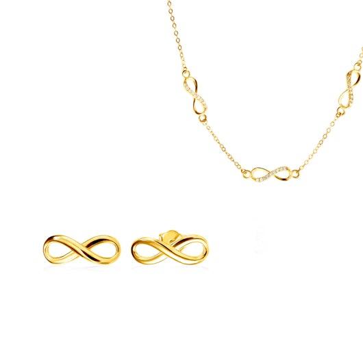 Komplet biżuterii niekończoność Savicki: srebro pozłacane, cyrkonie