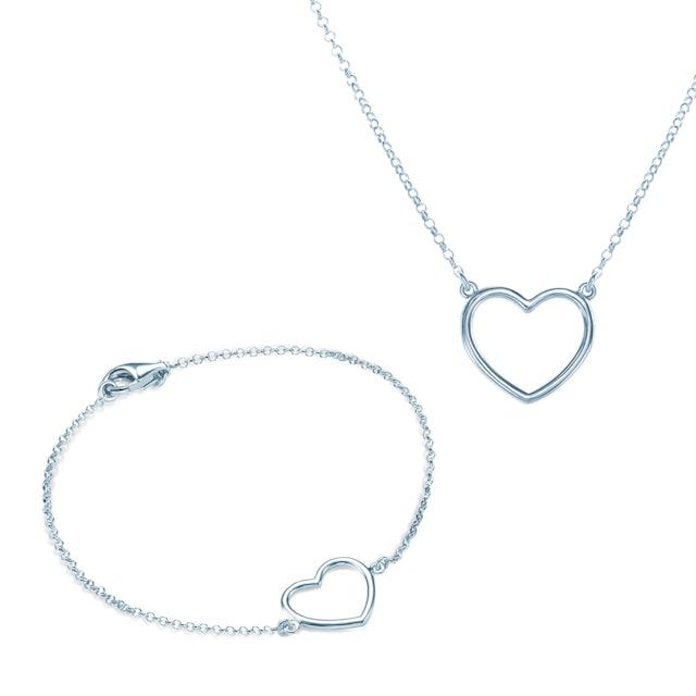 Komplet biżuterii serca Savicki: srebro