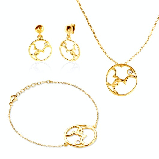 Komplet biżuterii serca Savicki: srebro pozłacane, cyrkonie