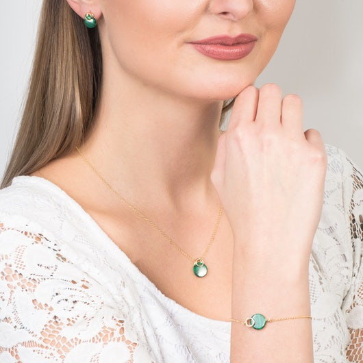 Komplet biżuterii Savicki: srebro pozłacane, malachity