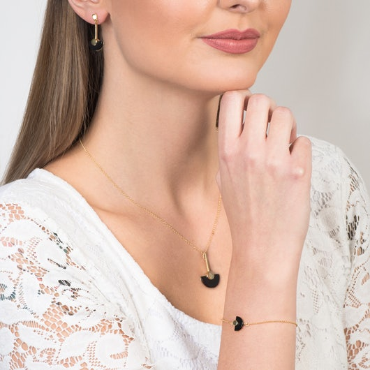Komplet biżuterii Savicki: srebro pozłacane, onyksy