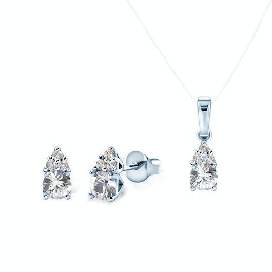 Komplet biżuterii Savicki: białe złoto, białe szafiry