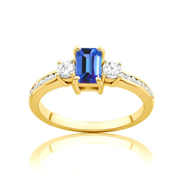 Pierścionek Blue Lagoon: złoty, tanzanit