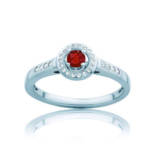 Pierścionek Red Passion: białe złoto, rubin