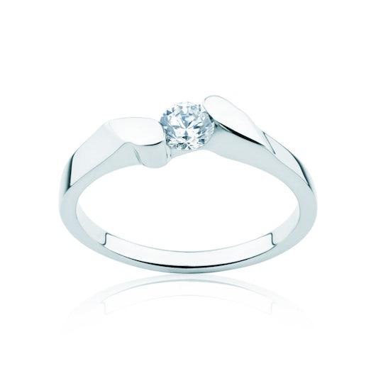 Pierścionek zaręczynowy Minimalism: białe złoto, diament